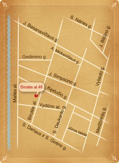Palangos žemėlapis. Birutės al. 48, Palanga